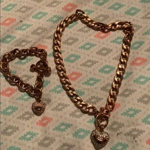 Juicy couture rose gold bracelet and necklace set